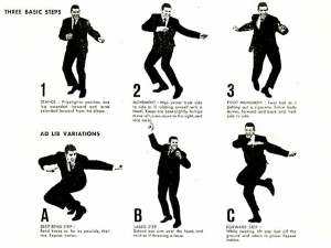 Chubby Checker demonstrating the three movements of the twist.